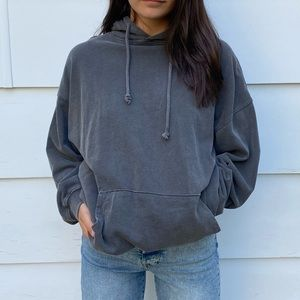 Oversized Washed Gray Hoodie